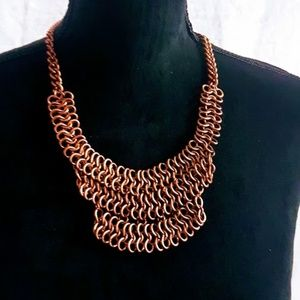 #J7  Rose Gold Weave Link Chain Necklace